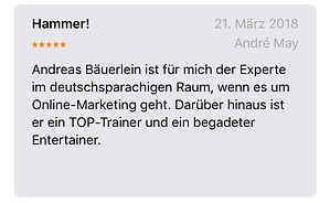 Andrè May sagt, Andreas Bäuerlein ist der Experte für Online-Marketing