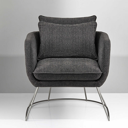 """29"""" X 27.5"""" X 32.5"""" Dark Grey Soft Textured Fabric and Brushed Steel"""