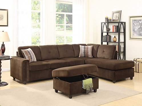 """79"""" X 33"""" X 36"""" Chocolate Velvet Reversible Sectional Sofa With"""