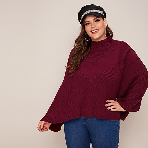 Mock Neck Poncho Sweater
