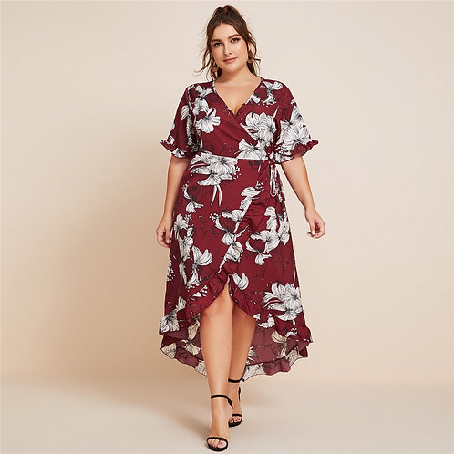 Floral Ruffle Wrap A-line Dress