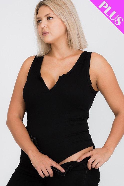 Split Neckline Bodysuit Top