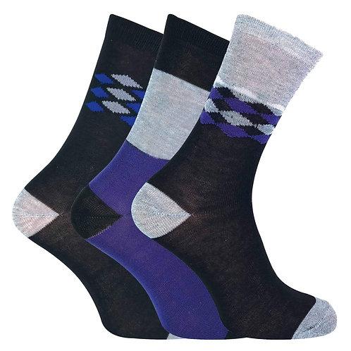 6 Pairs Mens Patterned Dress Socks