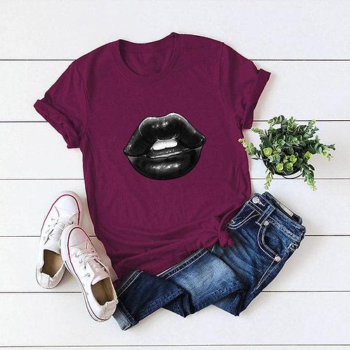 Lip Print Short Sleeve Tee