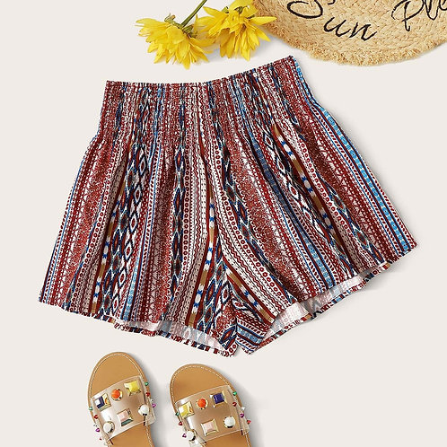 Tribal Shirred Shorts