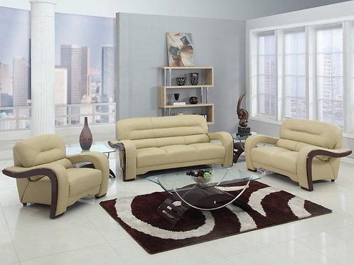"""99"""" Glamorous Beige Leather Sofa Set"""