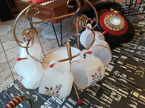Vintage Coffee Cups & Saucer Set