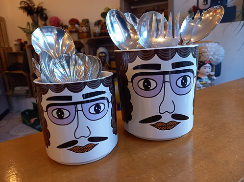 Utensil Ceramic Pots - moustache