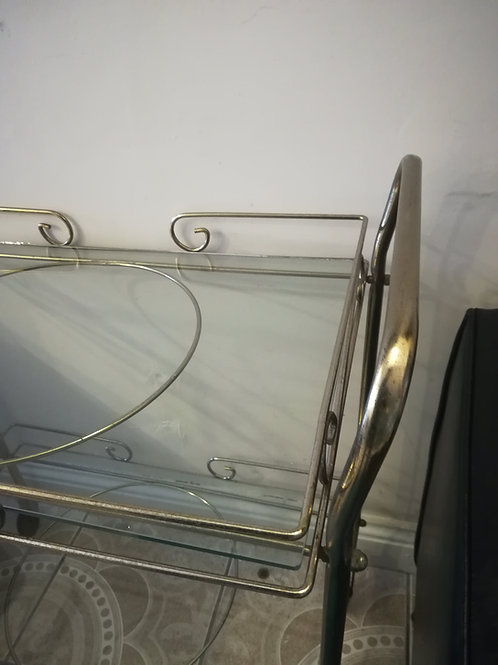 Vintage Brass & Glass Cocktail Trolley30s