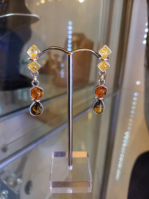 Amber Tri-Colour Amber Drop Earrings