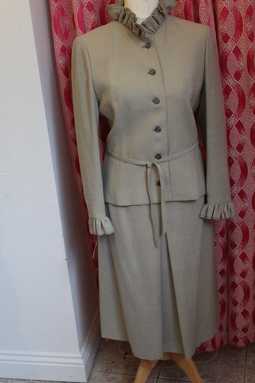 1970s Frill Neck Skirt Suit