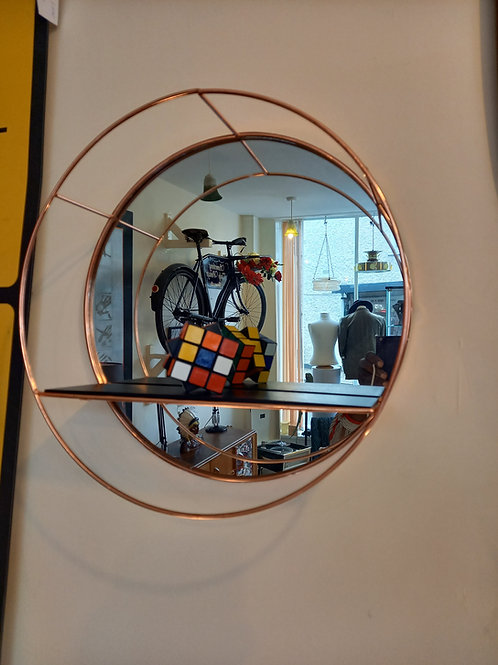 Round Mirror Wall Shelf