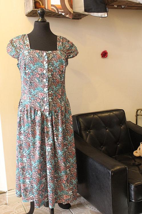 1970s Vintage Floral Dress
