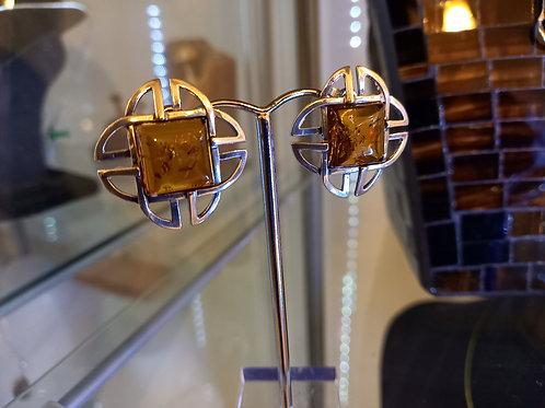 Amber Deco Style Stud Earrings