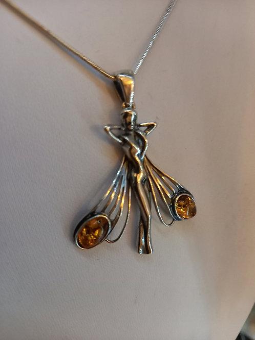 Art Nouveau Lady Amber Pendant