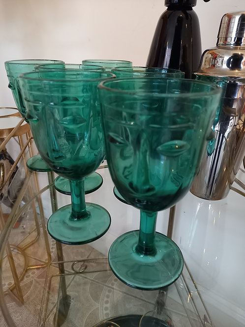 Deco Faced Styled Drinking Glasses x6