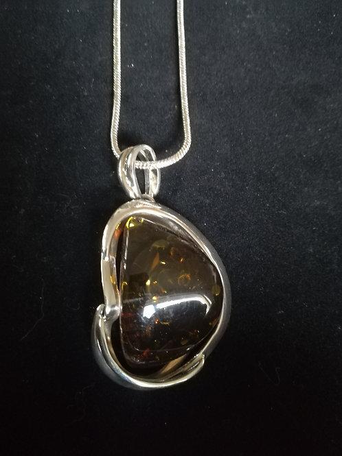 Handmade Green Amber Pendant