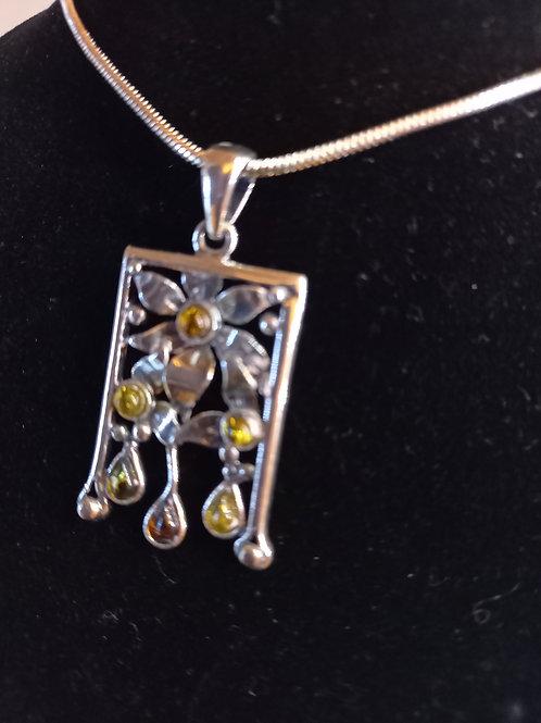 Art Nouveau look Amber pendant