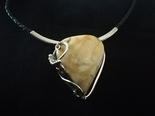 Yellow Amber  Pendant - Threaded Necklace