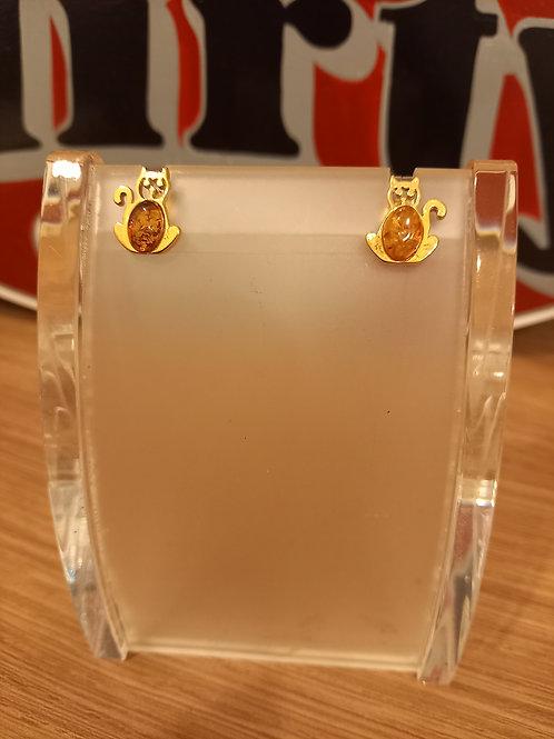 Amber Cat Gold Earrings