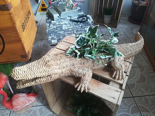 Wicker Crocodile Planter