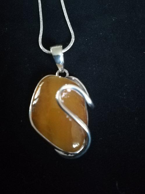 Smokey Yellow Amber Pendant