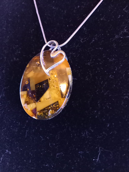 Mosaic Amber Pendant