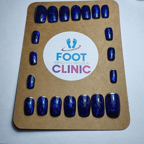 'Moonshine Blue' Bespoke Hand made Press on Nails