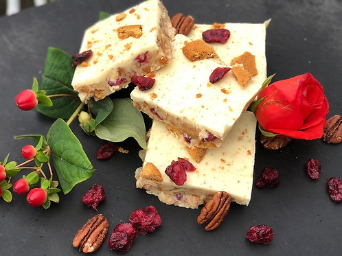 White Chocolate, Ginger, Cranberry and Pecan Tiffin