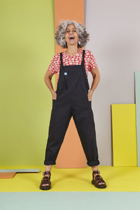 Luna Twill Cotton Dungarees in Midnight Black - Lucy & Yak