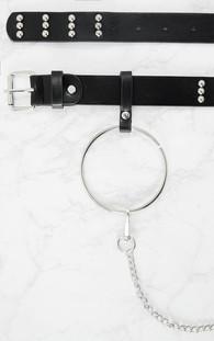 Black Ring and Chain Detail Waist Belt - Prettylittlething