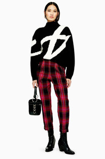Check Tapered Trousers - Topshop
