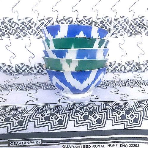 Original vintage Ikat porcelain bowls from Uzbekistan