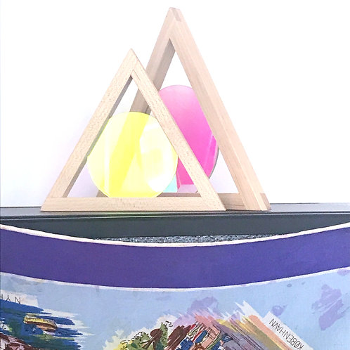 Aura Prism - Wooden Triangle with color changing disc.