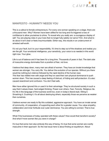 Campfire Manifesto