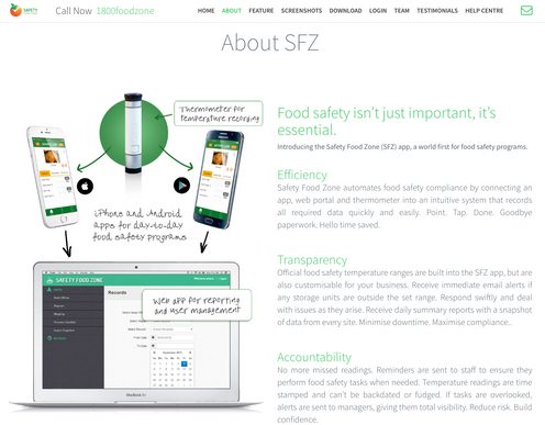 Safety Food Zone website