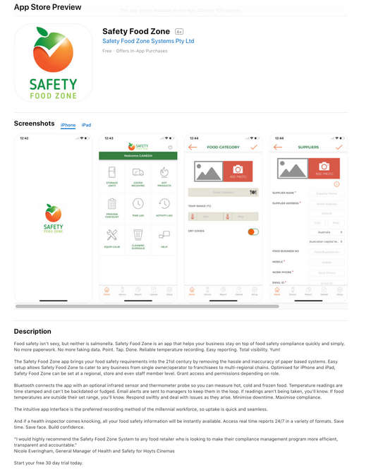 Safety Food Zone App Store Description