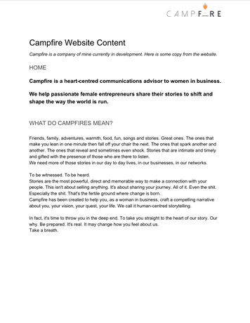 Campfire Home Page
