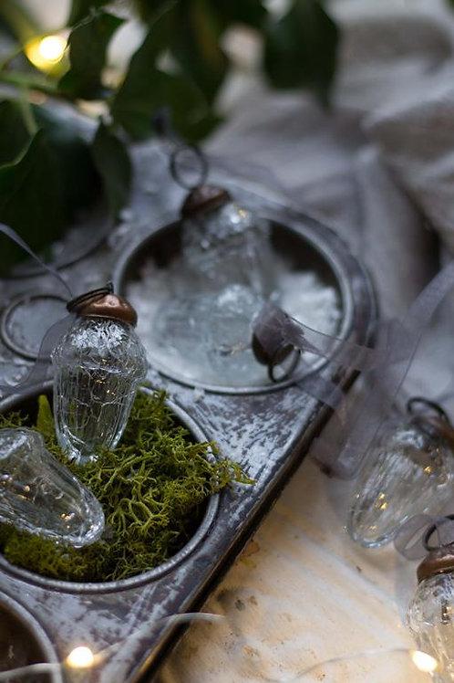 Clear Glass Crackle Acorn