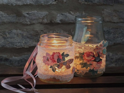 Handmade leavers lace jar cover wedding gift