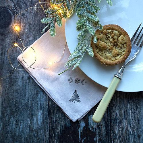 Upcycled vintage linen napkin Christmas home decor