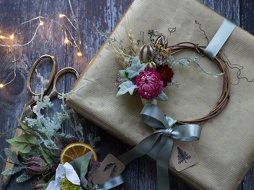 Miniature everlasting floral wreath