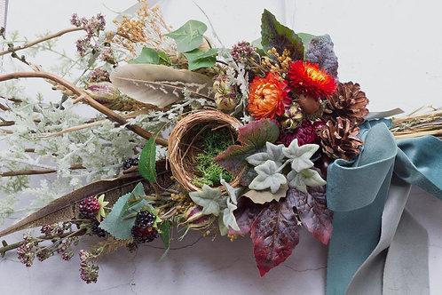 Everlasting floral hedgerow swag