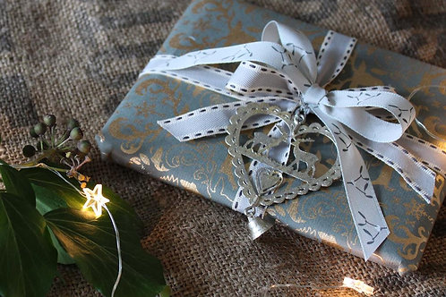 Dove grey mistletoe ribbon