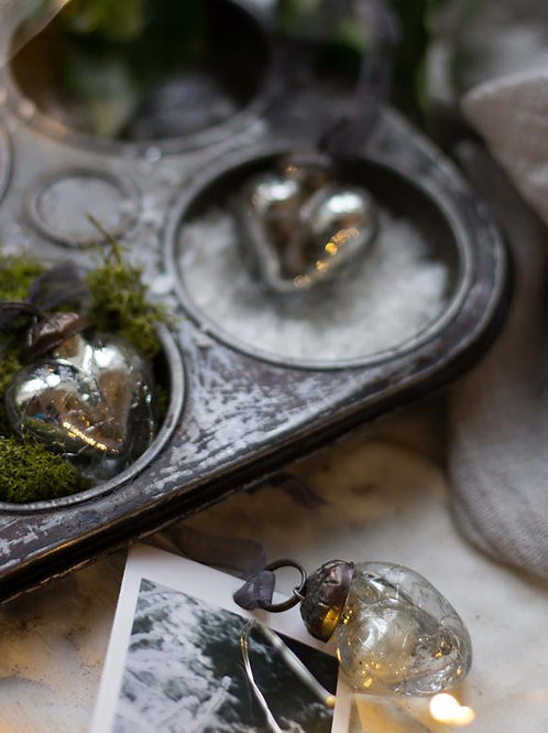 Silver Crackle Glass Heart
