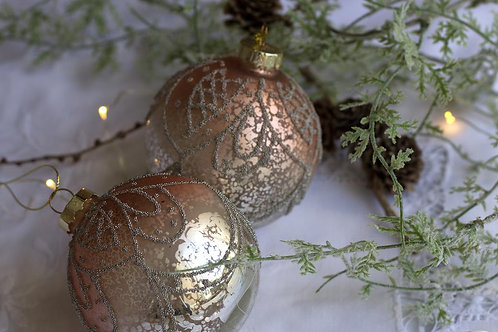 Silver and pink ombre bauble home decor