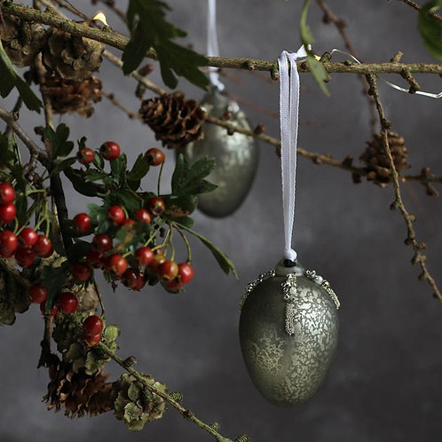 Sage green egg bauble home decor