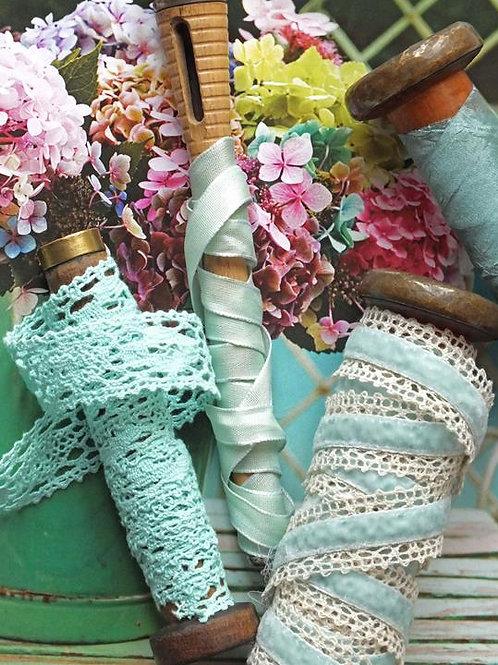 Aqua blue lace ribbon trim