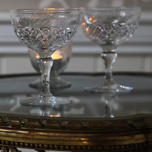 Vintage cut glass champagne coupes
