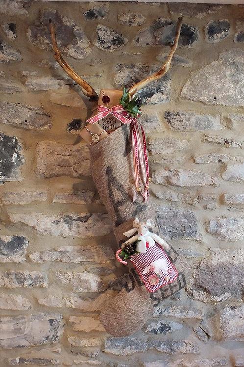 Handmade hessian Christmas stocking